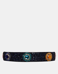 House Of Holland Navy Glitter Belt Blue
