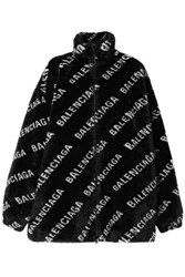 Balenciaga Printed Faux Fur Jacket Black