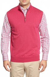 Men's Peter Millar Quarter Zip Merino Wool Vest Retro Pink