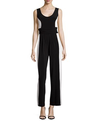 Muse Colorblock Sleeveless Jumpsuit Black White