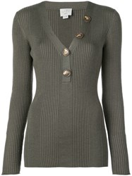 Jason Wu Long Sleeve Fitted Sweater Green