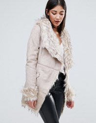 Lipsy Belted Coat With Faux Fur Collar Beige