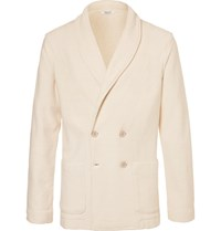 Eidos White Shawl Collar Double Breasted Knitted Cotton Blazer White