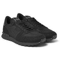 Valentino Leather Trimmed Felt Sneakers Black