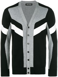 Neil Barrett Colour Block Striped Cardigan Black