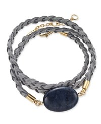 Inc International Concepts Gold Tone Semi Precious Stone Braided Wrap Bracelet Only At Macy's Blue Quartz