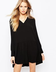Baandsh Astor Shirt Dress In Peplum Frill In Black
