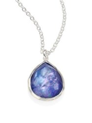 Ippolita Rock Candy Clear Quartz Mother Of Pearl And Lapis Mini Teardrop Pendant Necklace Silver Lapis