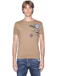 Dsquared Military Glam Printed Cotton T Shirt