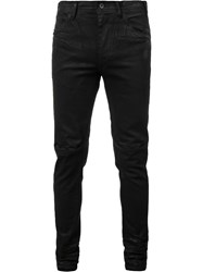 Julius Coated Split Knee Jeans Black