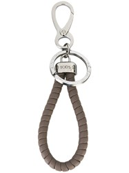 Tod's Woven Detail Keyring Calf Leather Metal Brown