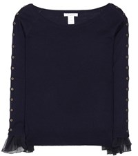 Oscar De La Renta Wool And Silk Sweater Blue