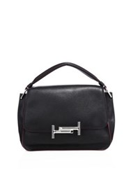 Tod's Double T Leather Messenger Bag Black