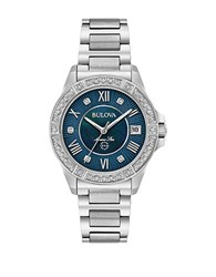 Bulova Diamond Stainless Steel Textured Dial Bracelet Watch Silver