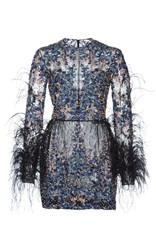Zuhair Murad Bead And Feather Embroidered Mini Dress Blue