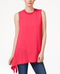 Rachel Rachel Roy Sleeveless Asymmetrical Hem Top Bright Coral