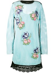 House Of Holland Floral Embroidered Mesh Dress Women Cotton Polyester 10 Blue