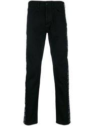 Marcelo Burlon County Of Milan Kappa Straight Leg Jeans Cotton Polyester Black
