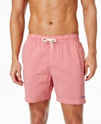 Barbour Men's Striped Swim Trunks Red