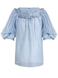 Thierry Colson Roussia Cotton And Silk Blend Voile Blouse Blue