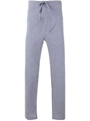 Massimo Piombo Mp Striped Cropped Trousers Men Cotton Polyamide S Blue