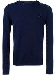 Sun 68 Crew Neck Jumper Blue