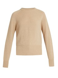 The Row Lenni Crew Neck Ribbed Knit Sweater Beige