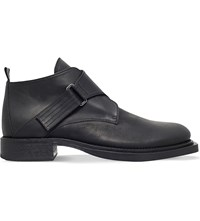 Ann Demeulemeester Monk Strap Leather Ankle Boots Black