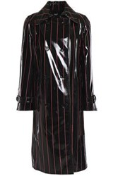Versus By Versace Double Breasted Coated Pvc Trench Coat Black