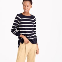 J.Crew Striped Crewneck Sweater With Side Snaps