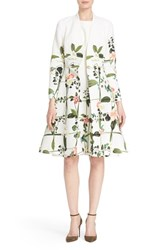 Women's Ted Baker London 'Giova' Floral Print Fit And Flare Coat Cream