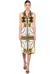 Versace Fitted Print Jersey Midi Shirt Dress Multicolor