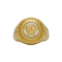 Versace Gold And Black Medusa Medallion Ring