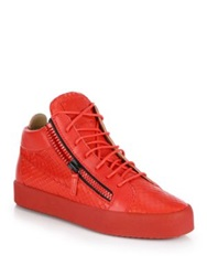 Giuseppe Zanotti Snake Print Leather Mid Top Sneakers Red