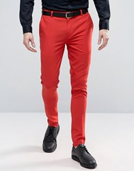 Asos Super Skinny Trouser In Red Flame Scarlet