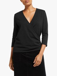 John Lewis Collection Weekend By Lurex Wrap Jersey Top Black