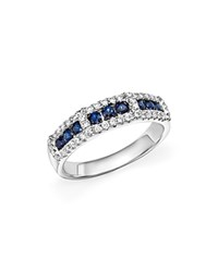 Bloomingdale's Diamond And Sapphire Band In 14K White Gold
