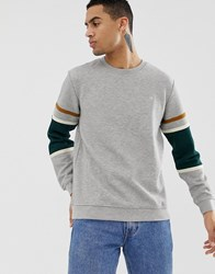 Hymn Quilted Sweatshirt With Panel Sleeve Grey Marl