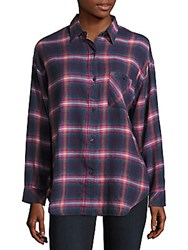 Rails Jackson Cotton Blend Plaid Shirt Navy
