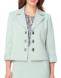 Tahari By Arthur S. Levine Plus Solid Long Sleeve Jacket Mint Green