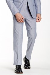 Paisley And Gray Blue Woven Flat Front Trouser