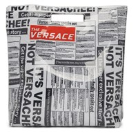 Versace White And Black Newspaper Shopping Tote