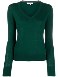 Patrizia Pepe Relaxed Fit V Neck Pullover Green
