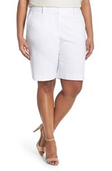 Plus Size Women's Sejour Stretch Twill Bermuda Shorts White
