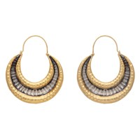 Carousel Jewels Gold And Silver Textured Antique Finish Earrings