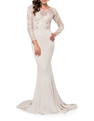 Glamour By Terani Couture Beaded Lace Gown Champagne