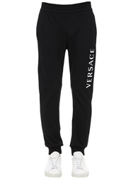 Versace Printed Logo Cotton Jersey Sweatpants Black