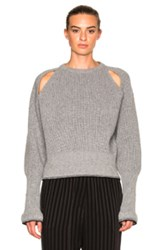 Givenchy Cropped Shoulder Cut Out Sweater In Gray