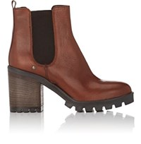 Barneys New York Women's Lug Sole Leather Chelsea Boots Brown