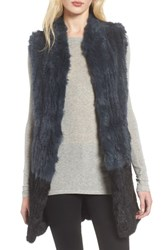 Love Token Long Colorblock Genuine Rabbit Fur Vest
